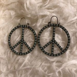 Lucky Brand Studded Peace Sign Earrings